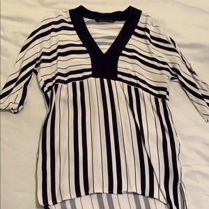 Zara Navy & White Tunic blouse